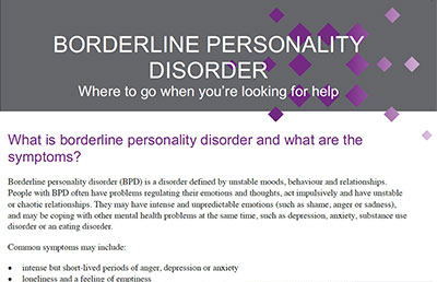 Personality Disorder Resources
