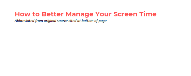 How to Better Manage Your Screen Time